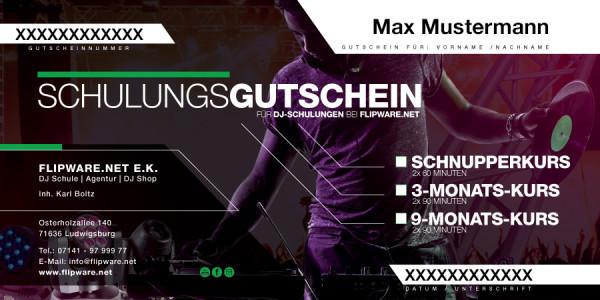 """Flipware """"DJ Schule"""" : 3-Monats-Kurs 6 x 90 Minuten Einzelunterricht (Gutschein)"""